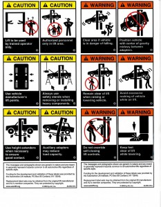 Automotive Lift Industry Uniform Warning Labels and Placards
