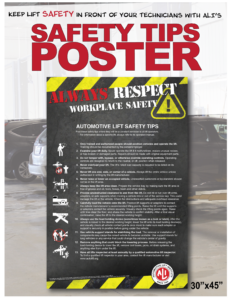 "Photo of a black poster with yellow caution tape on the top and bottom overlaid on a picture of a car repair shop, with the words ""Safety Tips Poster"" in large red type across the top"