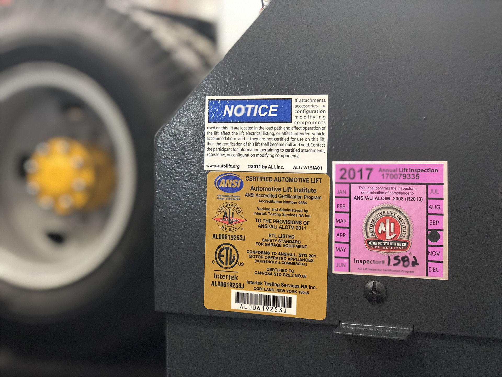 ALI certified Lift inspected labels